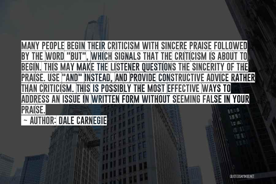 Constructive Criticism Quotes By Dale Carnegie