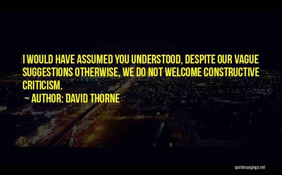 Constructive Criticism Quotes By David Thorne