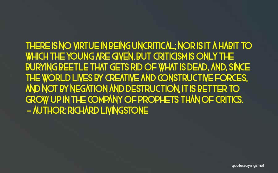 Constructive Criticism Quotes By Richard Livingstone