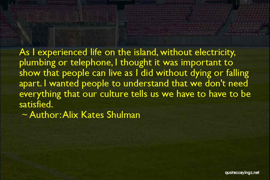 Culture In Things Fall Apart Quotes By Alix Kates Shulman