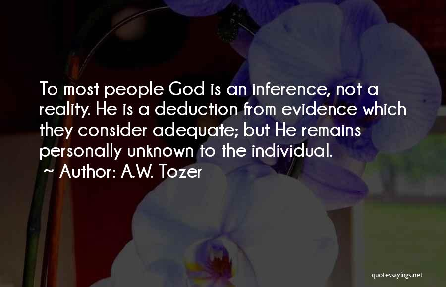 Deduction Quotes By A.W. Tozer