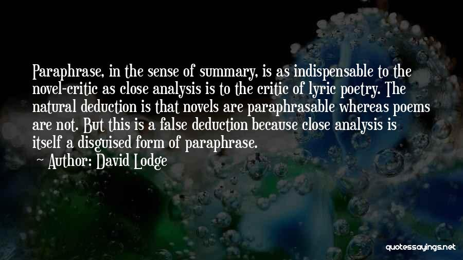 Deduction Quotes By David Lodge
