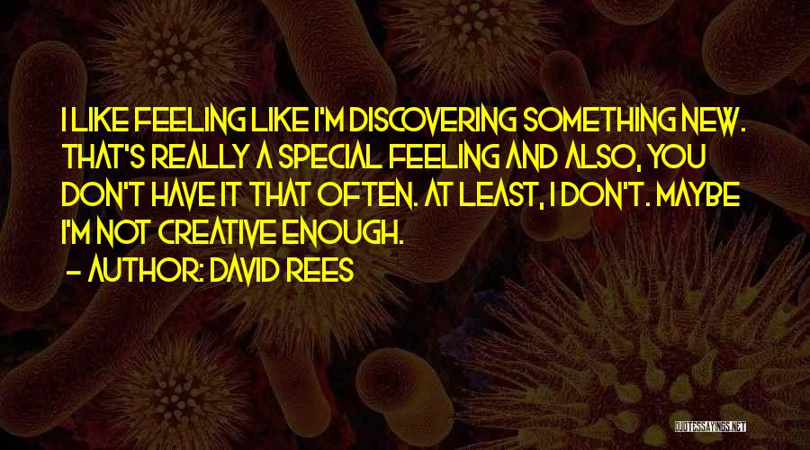 Discovering New Things Quotes By David Rees