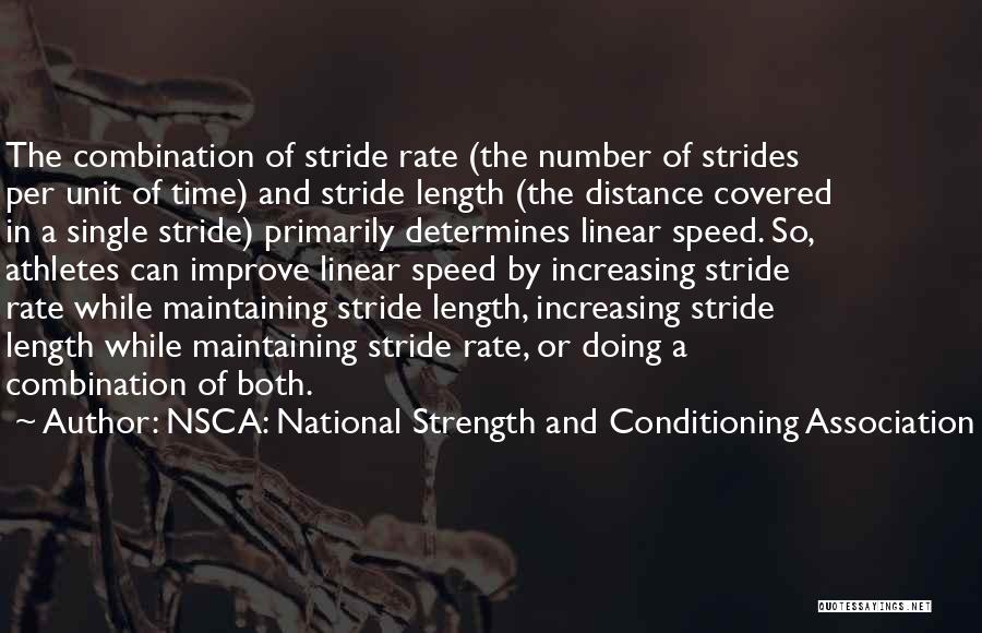 Distance Covered Quotes By NSCA: National Strength And Conditioning Association