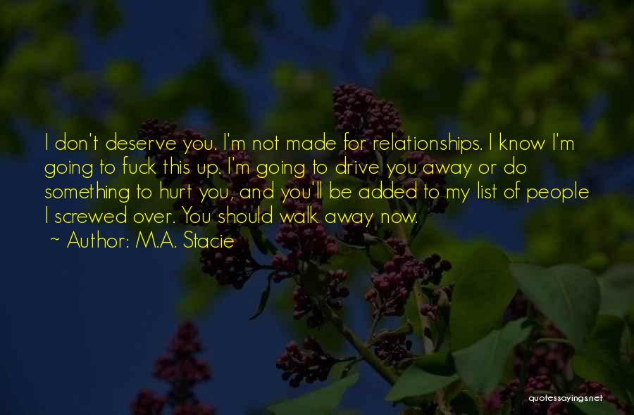 Do Not Deserve Love Quotes By M.A. Stacie