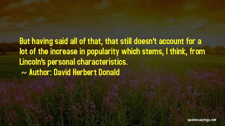 Doing Personal Best Quotes By David Herbert Donald