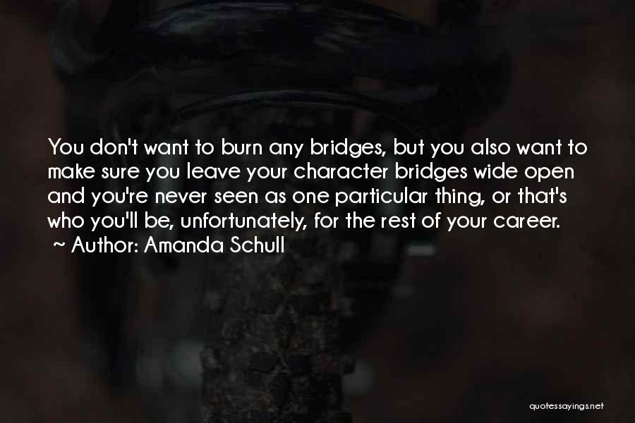 Don't Burn Any Bridges Quotes By Amanda Schull