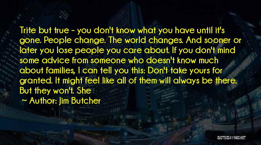 Don't Care About World Quotes By Jim Butcher