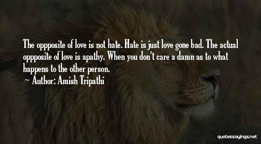 Don't Care If You Hate Me Quotes By Amish Tripathi