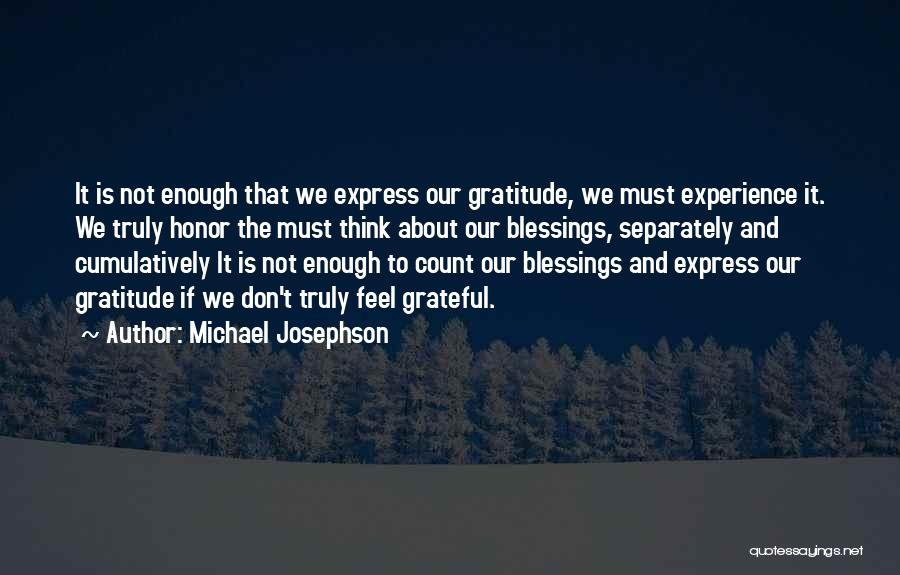 Don't Count Your Blessings Quotes By Michael Josephson