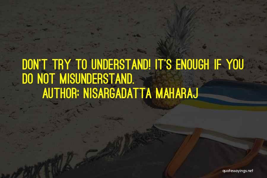 Don't Misunderstand Quotes By Nisargadatta Maharaj