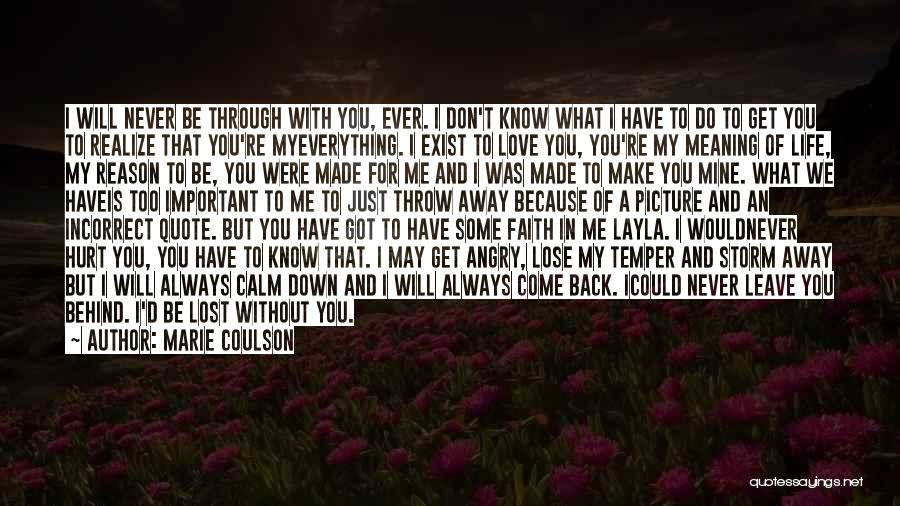 Don't Want You Back Picture Quotes By Marie Coulson