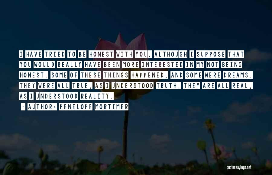 Dreams Not Being Reality Quotes By Penelope Mortimer
