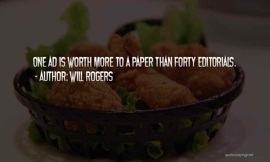 Editorials Quotes By Will Rogers