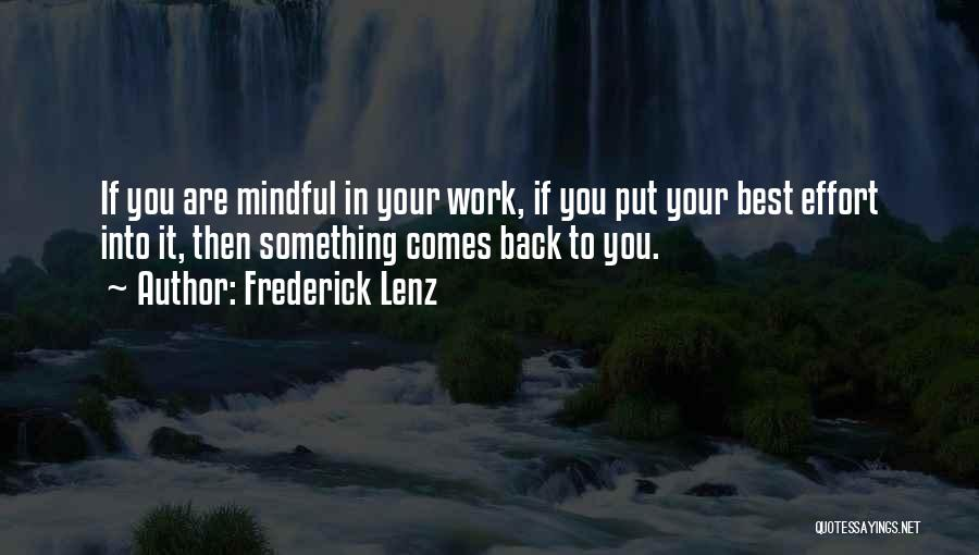 Effort In Work Quotes By Frederick Lenz