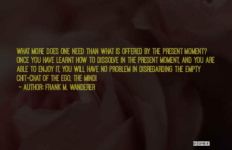 Ego Problem Quotes By Frank M. Wanderer