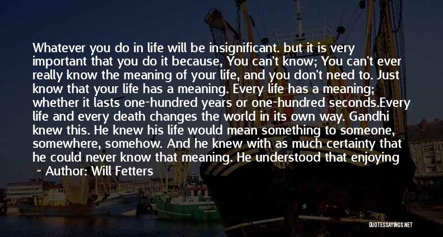 Enjoying Life As It Is Quotes By Will Fetters