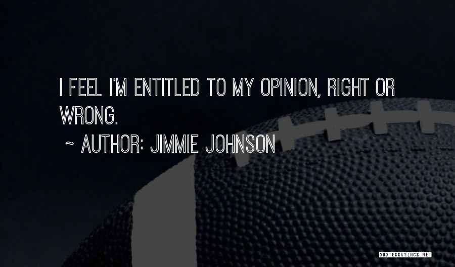 Entitled To Their Opinion Quotes By Jimmie Johnson