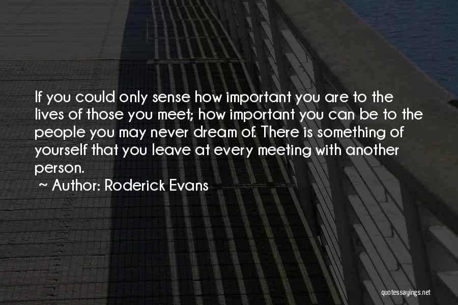 Every Person You Meet Quotes By Roderick Evans