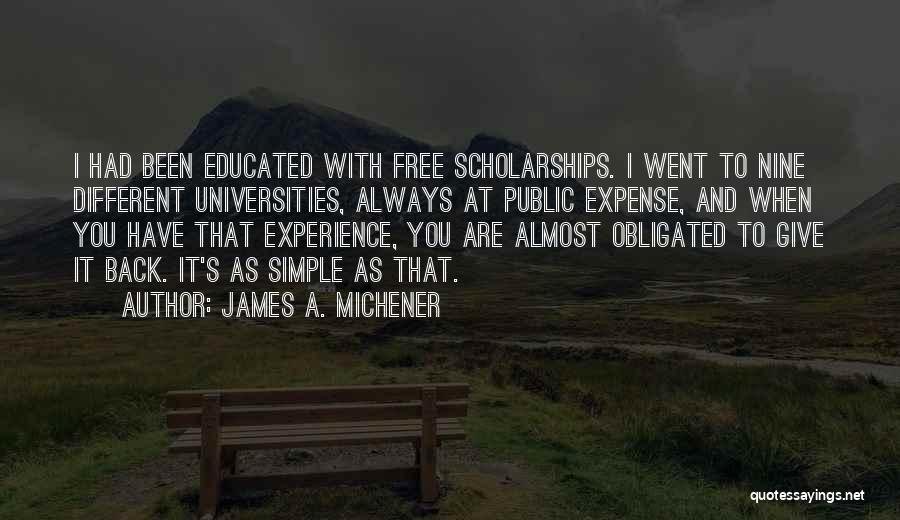 Expense Quotes By James A. Michener