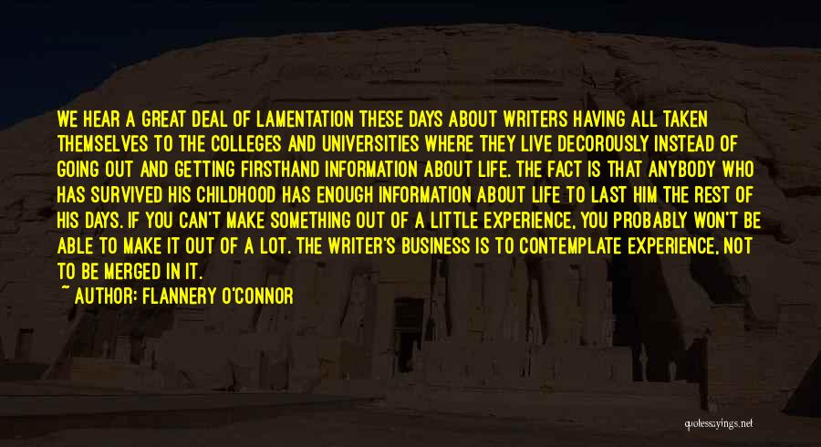 Experience In Business Quotes By Flannery O'Connor