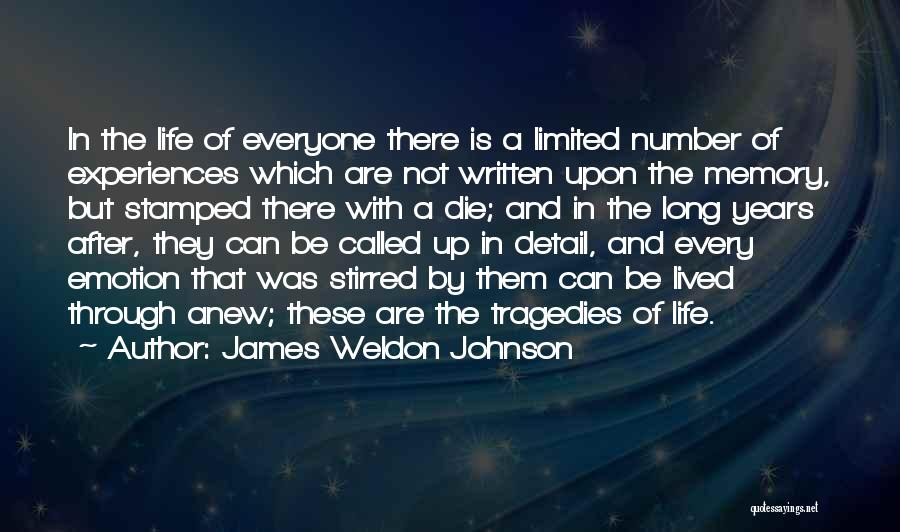 Experiences In Life Quotes By James Weldon Johnson