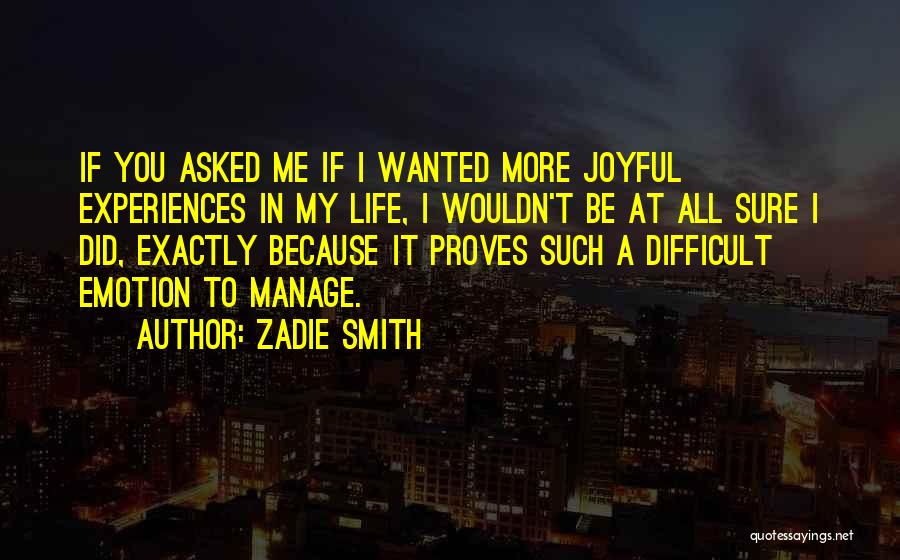 Experiences In Life Quotes By Zadie Smith