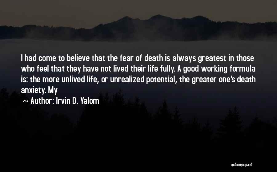 Fear Of Death Anxiety Quotes By Irvin D. Yalom