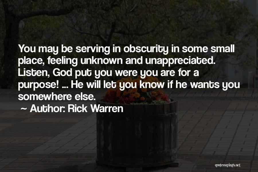 Feeling Unappreciated Quotes By Rick Warren