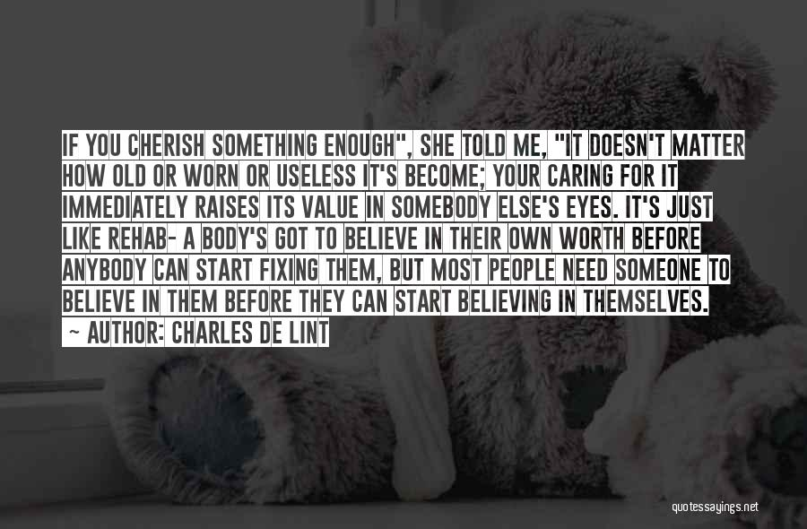 Fixing Someone Quotes By Charles De Lint