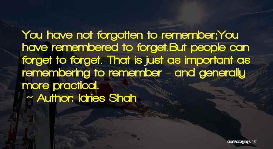 Forgetting Important Things Quotes By Idries Shah