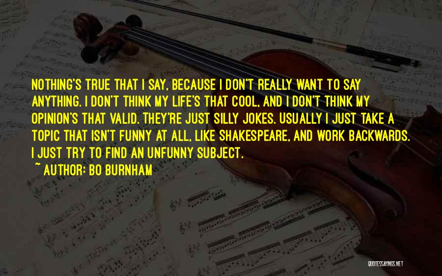 Funny Silly Quotes By Bo Burnham