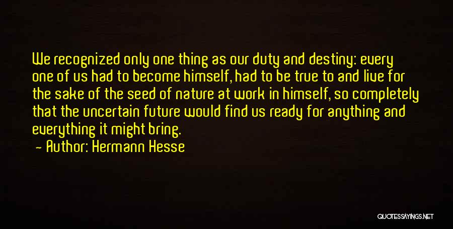 Future And Destiny Quotes By Hermann Hesse