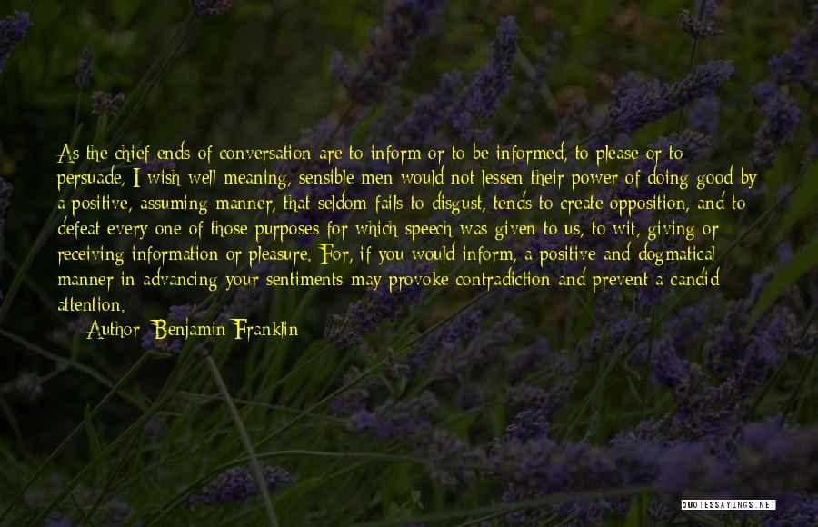 Giving A Speech Quotes By Benjamin Franklin