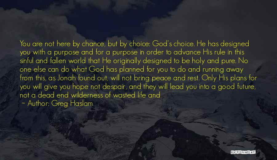 God Has A Purpose Quotes By Greg Haslam