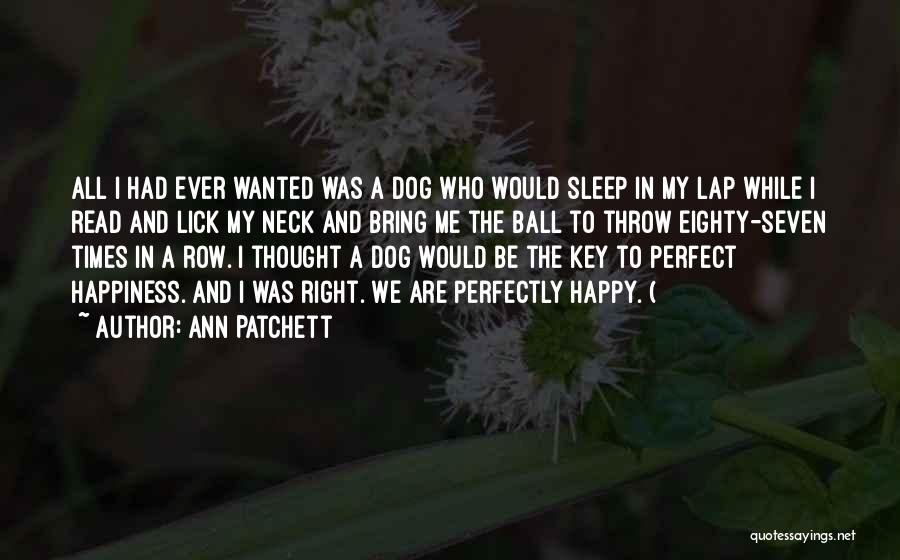 Going To Sleep Happy Quotes By Ann Patchett