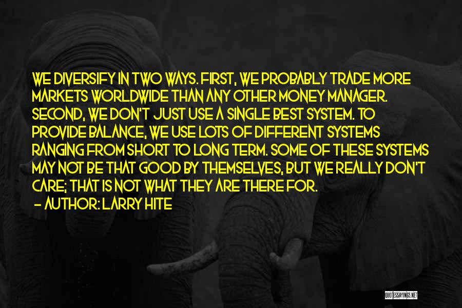 Good Manager Quotes By Larry Hite
