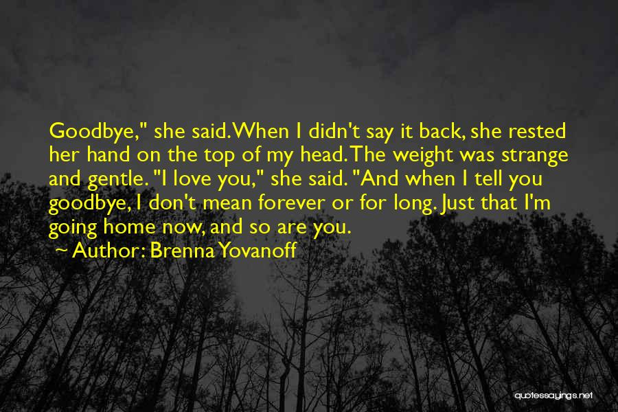 Goodbyes For Now Quotes By Brenna Yovanoff
