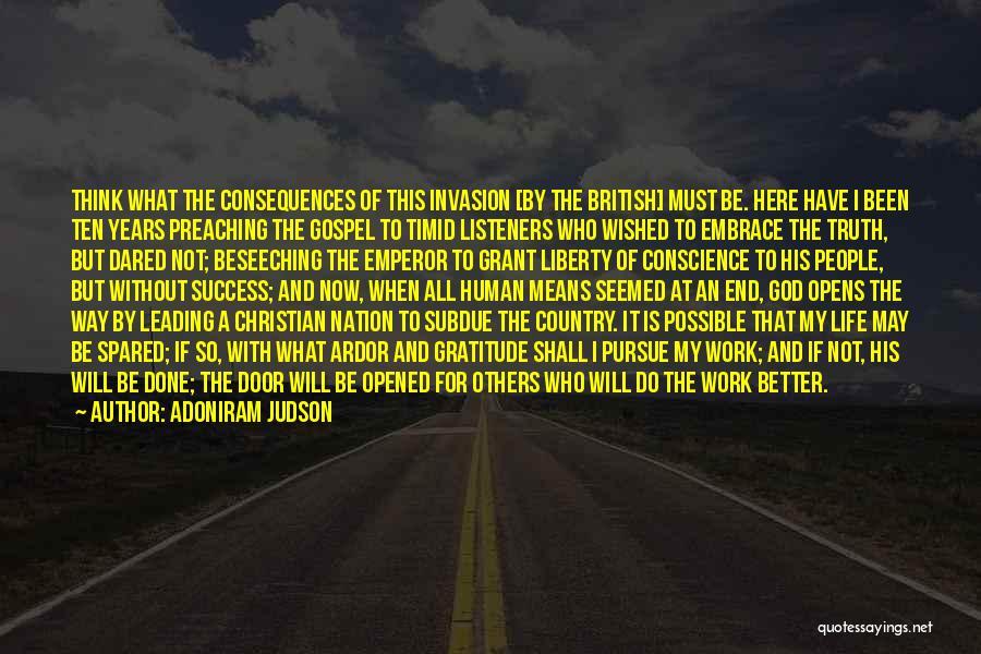 Gratitude For Success Quotes By Adoniram Judson