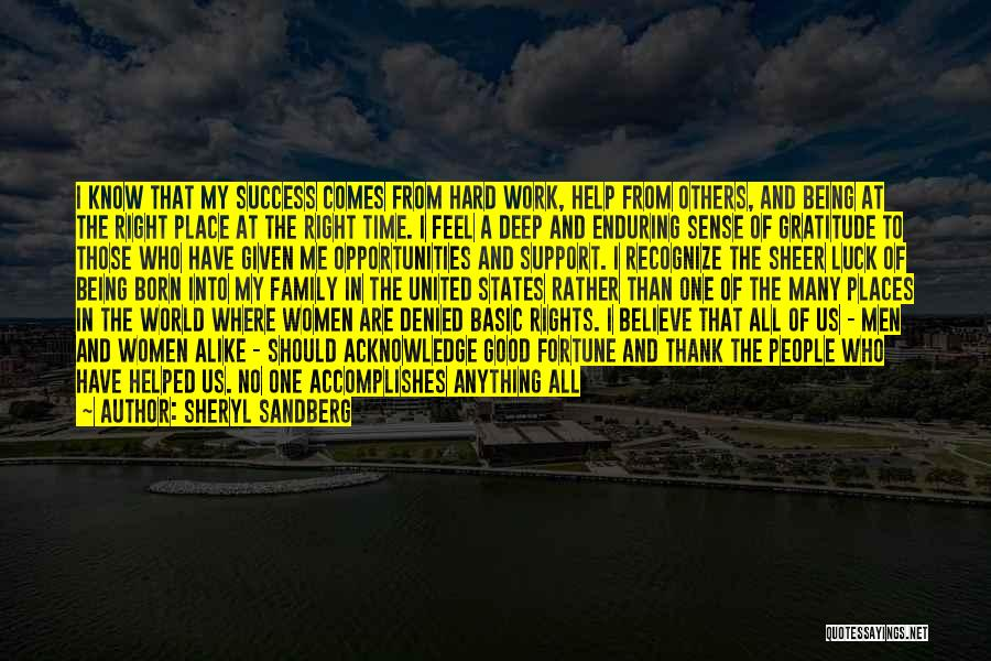 Gratitude For Success Quotes By Sheryl Sandberg