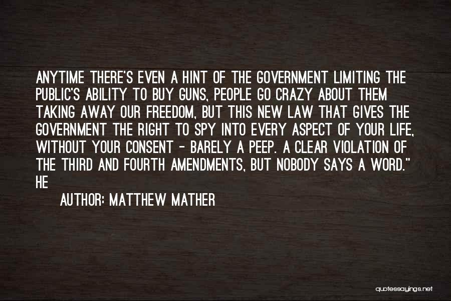 Guns And Government Quotes By Matthew Mather