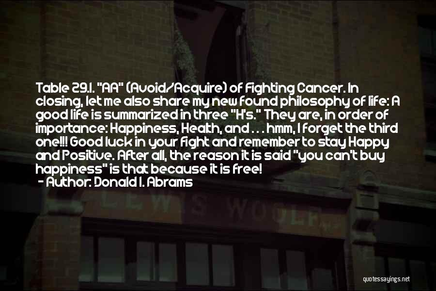 Happy Good Life Quotes By Donald I. Abrams