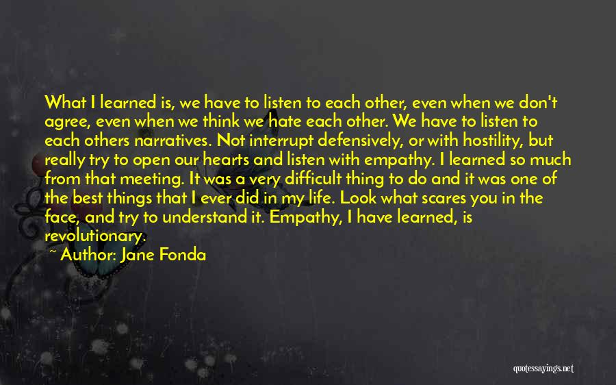 Hate What You Did Quotes By Jane Fonda