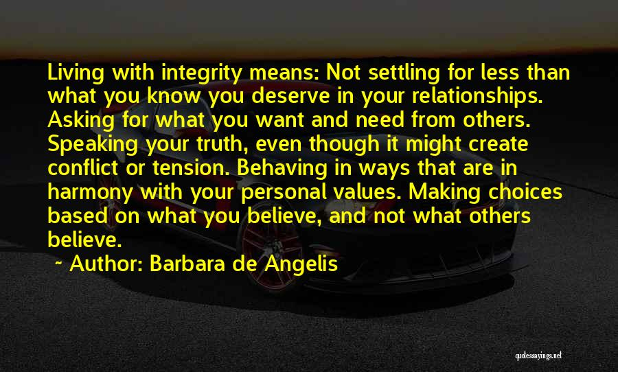 Honesty And Integrity Quotes By Barbara De Angelis