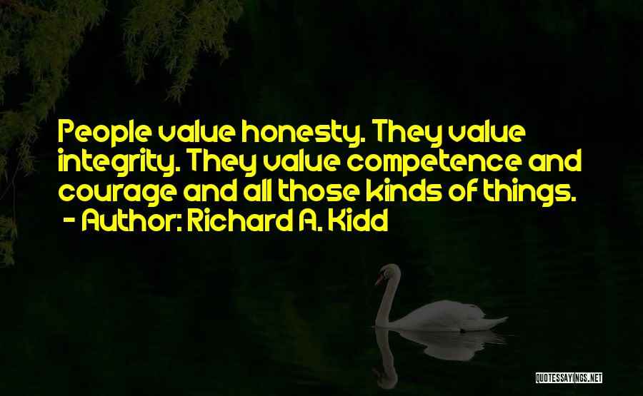 Honesty And Integrity Quotes By Richard A. Kidd