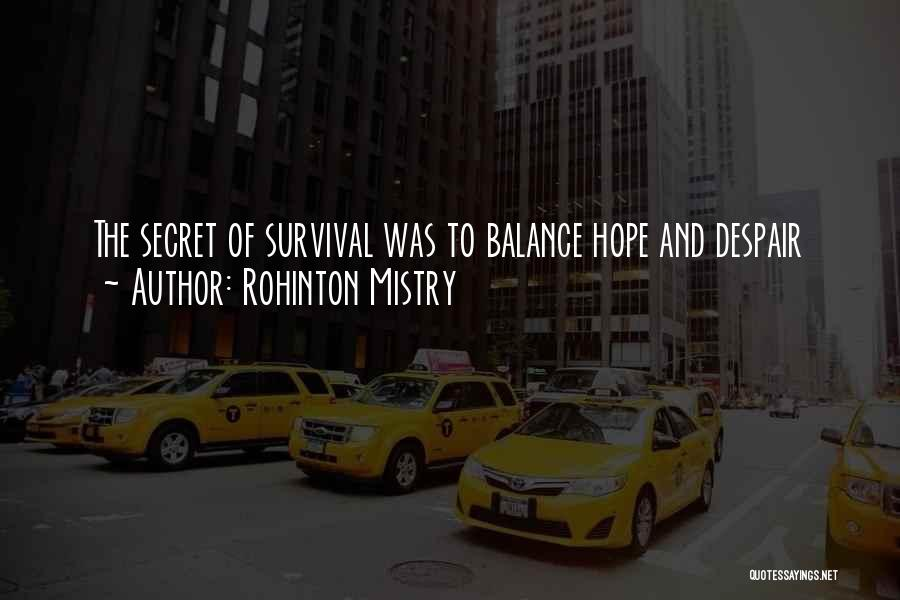 Hope And Survival Quotes By Rohinton Mistry