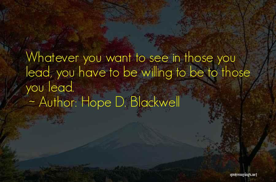 Hope D. Blackwell Quotes 400629