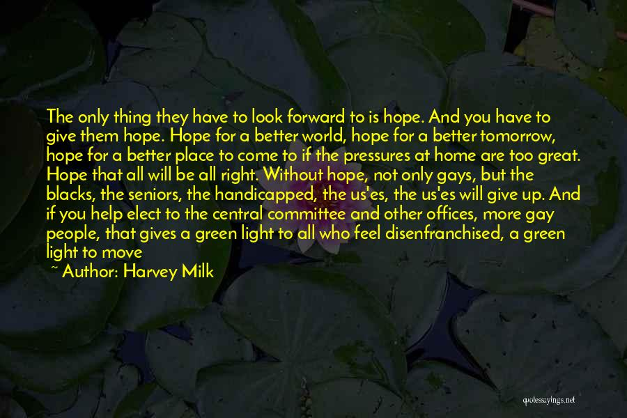Hope For Tomorrow Quotes By Harvey Milk