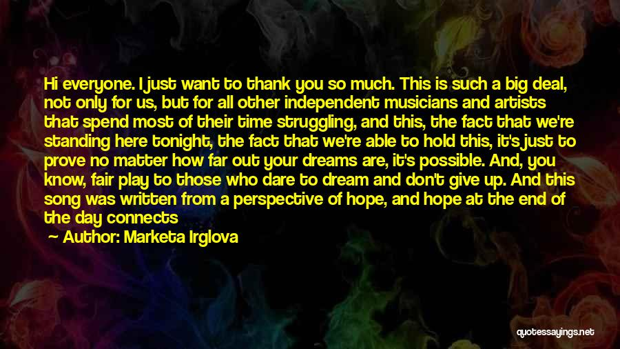 How Not To Give Up Hope Quotes By Marketa Irglova