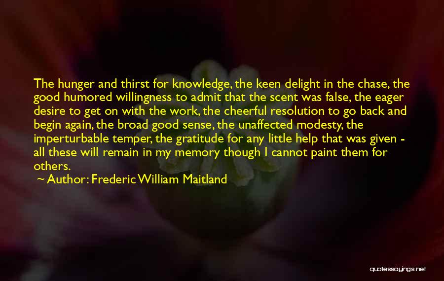 Hunger For Knowledge Quotes By Frederic William Maitland